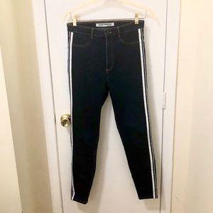 Zara Skinny Leg Stretch Jeans with White Stripe